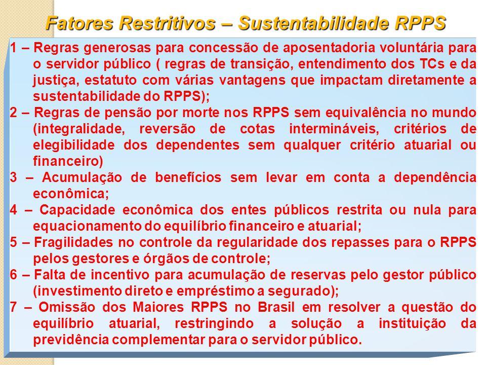 Fatores Restritivos – Sustentabilidade RPPS 1 – Regras generosas para concessão de aposentadoria voluntária para o servidor público ( regras de transição, entendimento dos TCs e da justiça, estatuto com várias vantagens que impactam diretamente a sustentabilidade do RPPS); 2 – Regras de pensão por morte nos RPPS sem equivalência no mundo (integralidade, reversão de cotas intermináveis, critérios de elegibilidade dos dependentes sem qualquer critério atuarial ou financeiro) 3 – Acumulação de benefícios sem levar em conta a dependência econômica; 4 – Capacidade econômica dos entes públicos restrita ou nula para equacionamento do equilíbrio financeiro e atuarial; 5 – Fragilidades no controle da regularidade dos repasses para o RPPS pelos gestores e órgãos de controle; 6 – Falta de incentivo para acumulação de reservas pelo gestor público (investimento direto e empréstimo a segurado); 7 – Omissão dos Maiores RPPS no Brasil em resolver a questão do equilíbrio atuarial, restringindo a solução a instituição da previdência complementar para o servidor público.