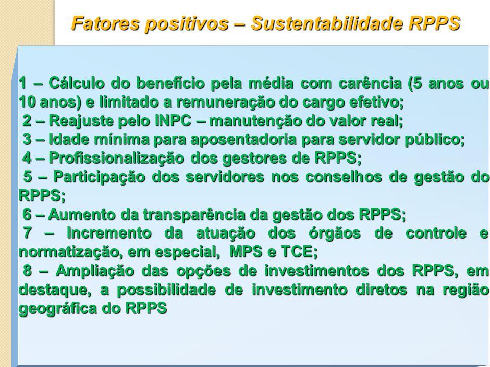 Fatores positivos – Sustentabilidade RPPS 1 – Cálculo do benefício pela média com carência (5 anos ou 10 anos) e limitado a remuneração do cargo efetivo; 2 – Reajuste pelo INPC – manutenção do valor real; 2 – Reajuste pelo INPC – manutenção do valor real; 3 – Idade mínima para aposentadoria para servidor público; 3 – Idade mínima para aposentadoria para servidor público; 4 – Profissionalização dos gestores de RPPS; 4 – Profissionalização dos gestores de RPPS; 5 – Participação dos servidores nos conselhos de gestão do RPPS; 5 – Participação dos servidores nos conselhos de gestão do RPPS; 6 – Aumento da transparência da gestão dos RPPS; 6 – Aumento da transparência da gestão dos RPPS; 7 – Incremento da atuação dos órgãos de controle e normatização, em especial, MPS e TCE; 7 – Incremento da atuação dos órgãos de controle e normatização, em especial, MPS e TCE; 8 – Ampliação das opções de investimentos dos RPPS, em destaque, a possibilidade de investimento diretos na região geográfica do RPPS 8 – Ampliação das opções de investimentos dos RPPS, em destaque, a possibilidade de investimento diretos na região geográfica do RPPS