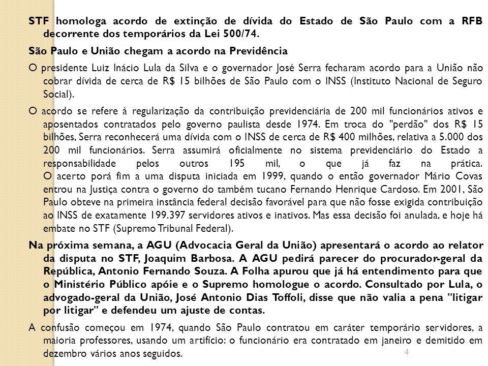 STF homologa acordo de extinção de dívida do Estado de São Paulo com a RFB decorrente dos temporários da Lei 500/74.