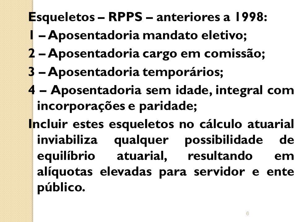 Esqueletos – RPPS – anteriores a 1998: 1 – Aposentadoria mandato eletivo; 2 – Aposentadoria cargo em comissão; 3 – Aposentadoria temporários; 4 – Aposentadoria sem idade, integral com incorporações e paridade; Incluir estes esqueletos no cálculo atuarial inviabiliza qualquer possibilidade de equilíbrio atuarial, resultando em alíquotas elevadas para servidor e ente público.