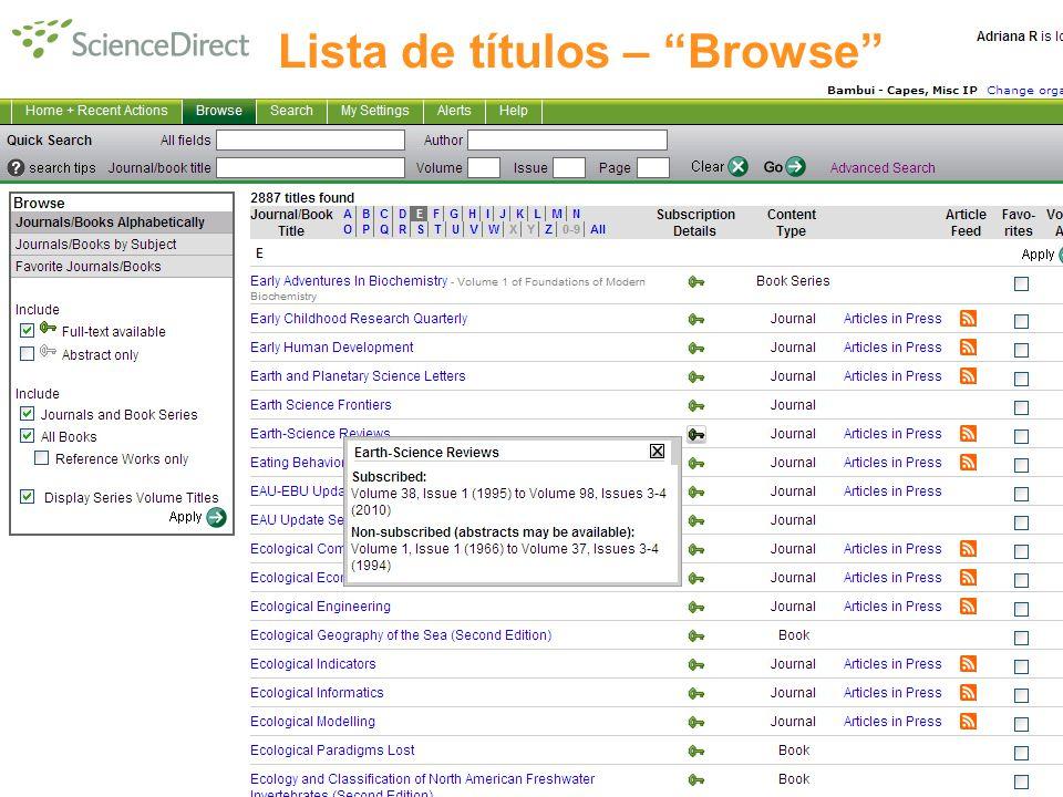 Lista de títulos – Browse