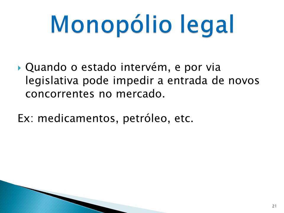 Monopólio:  Existência de uma única empresa que controla totalmente o mercado;  Empresas de grandes dimensões;  Vende o seu produto a um elevado nú