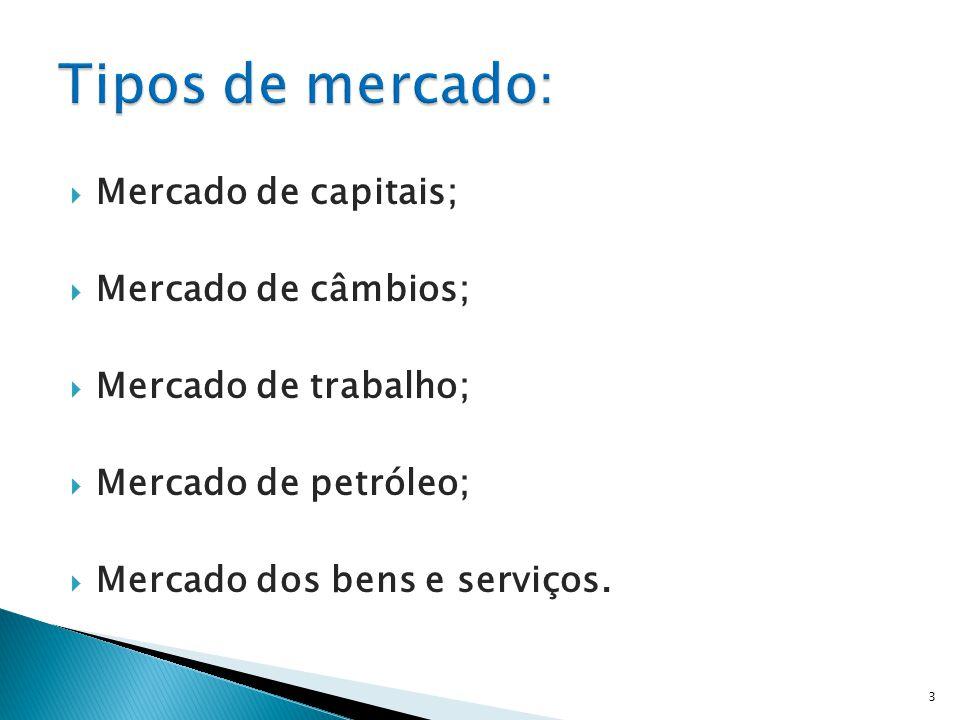  Mercado de capitais;  Mercado de câmbios;  Mercado de trabalho;  Mercado de petróleo;  Mercado dos bens e serviços.