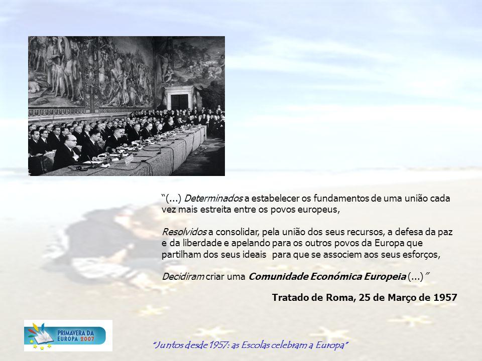 Juntos desde 1957: as Escolas celebram a Europa A iniciativa Primavera da Europa Lançada em 2002 no âmbito do debate sobre o futuro da Europa e a Convenção, tem como objectivo principal a sensibilização dos jovens europeus para os desafios da Europa, apresentando-se como: PLATAFORMA PEDAGÓGICA destinada às escolas e que lhes permite integrar a dimensão europeia nas suas actividades CAMPANHA incentiva e apoia as escolas a promover um dia Europeu de debate e reflexão à volta de um tema, envolvendo diversas personalidades e os estudantes REDE DINÂMICA constituída por escolas (estudantes e professores) de toda a Europa OPORTUNIDADE para os jovens europeus se envolverem activamente e influenciarem os processos europeus, no sentido do exercício de uma cidadania activa