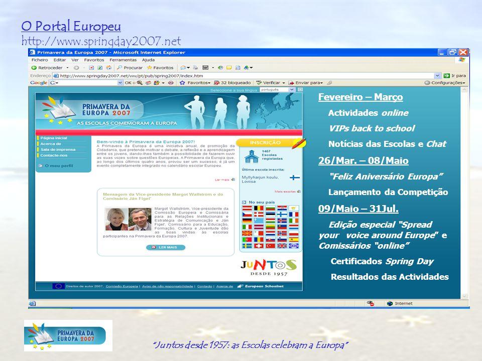 Juntos desde 1957: as Escolas celebram a Europa O Portal Europeu http://www.springday2007.net Fevereiro – Março Actividades online VIPs back to school Notícias das Escolas e Chat 26/Mar.