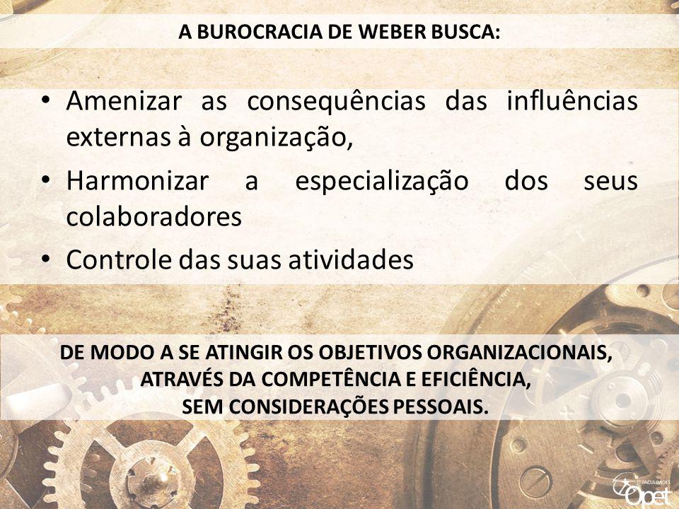 • Amenizar as consequências das influências externas à organização, • Harmonizar a especialização dos seus colaboradores • Controle das suas atividade