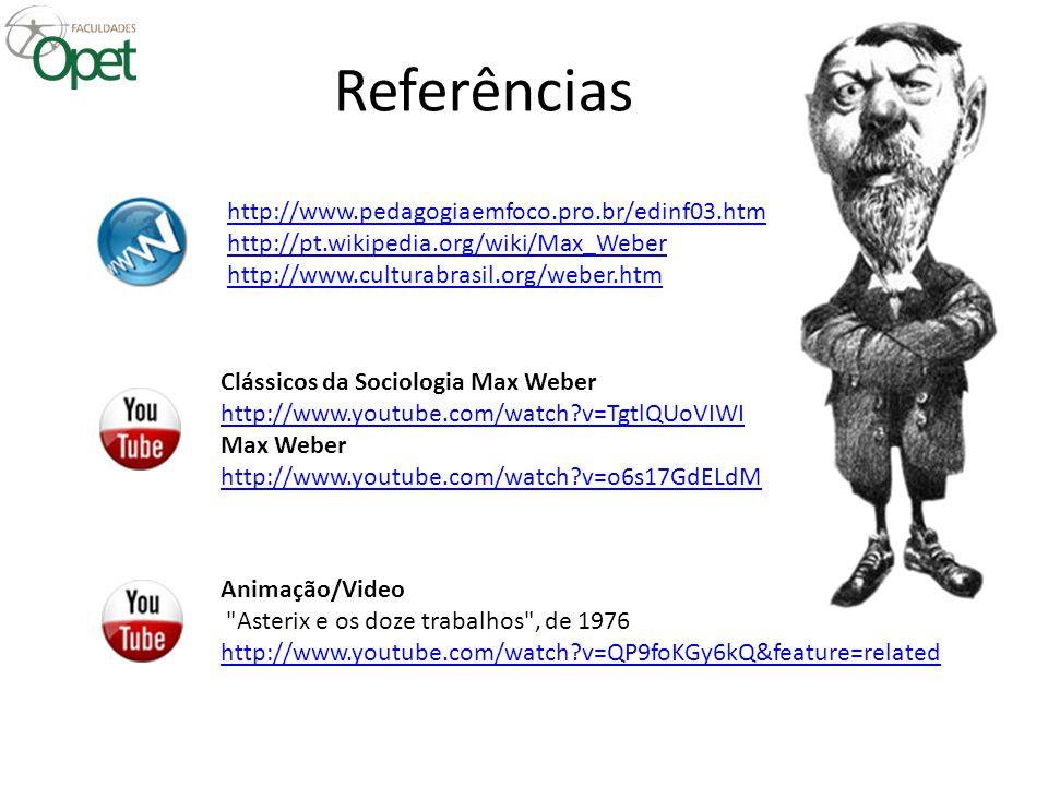 Referências http://www.pedagogiaemfoco.pro.br/edinf03.htm http://pt.wikipedia.org/wiki/Max_Weber http://www.culturabrasil.org/weber.htm Clássicos da S