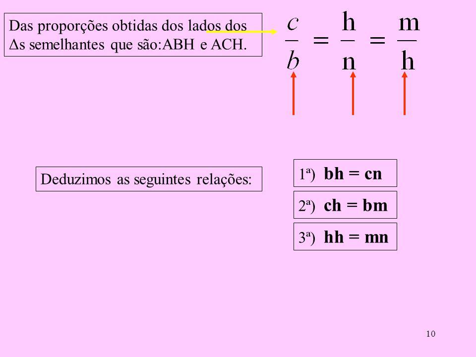 9 Comparando o triângulo ABH com o triângulo ACH. Lados do Δ ABH Lados do Δ ACH Como são semelhantes, seus lados são proporcionais, logo temos as segu