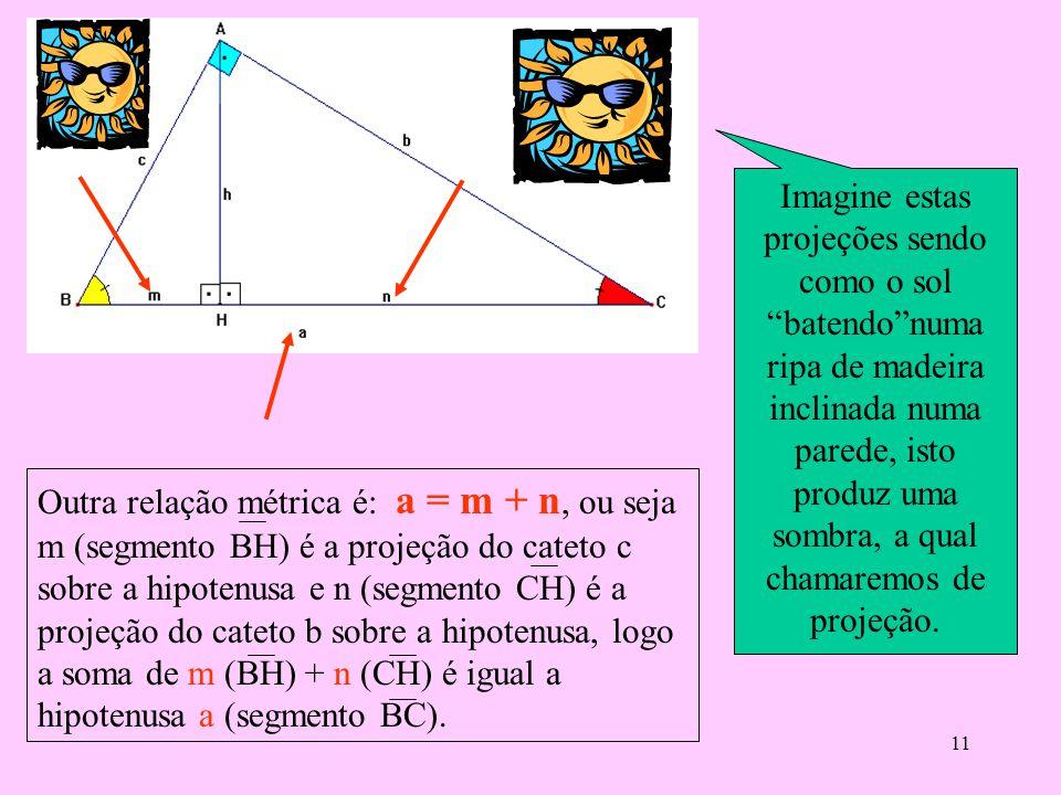 10 Das proporções obtidas dos lados dos Δs semelhantes que são:ABH e ACH. Deduzimos as seguintes relações: 1ª) bh = cn 2ª) ch = bm 3ª) hh = mn