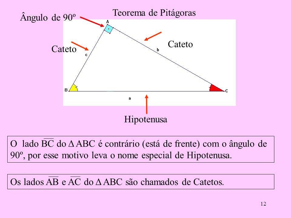 11 Outra relação métrica é: a = m + n, ou seja m (segmento BH) é a projeção do cateto c sobre a hipotenusa e n (segmento CH) é a projeção do cateto b