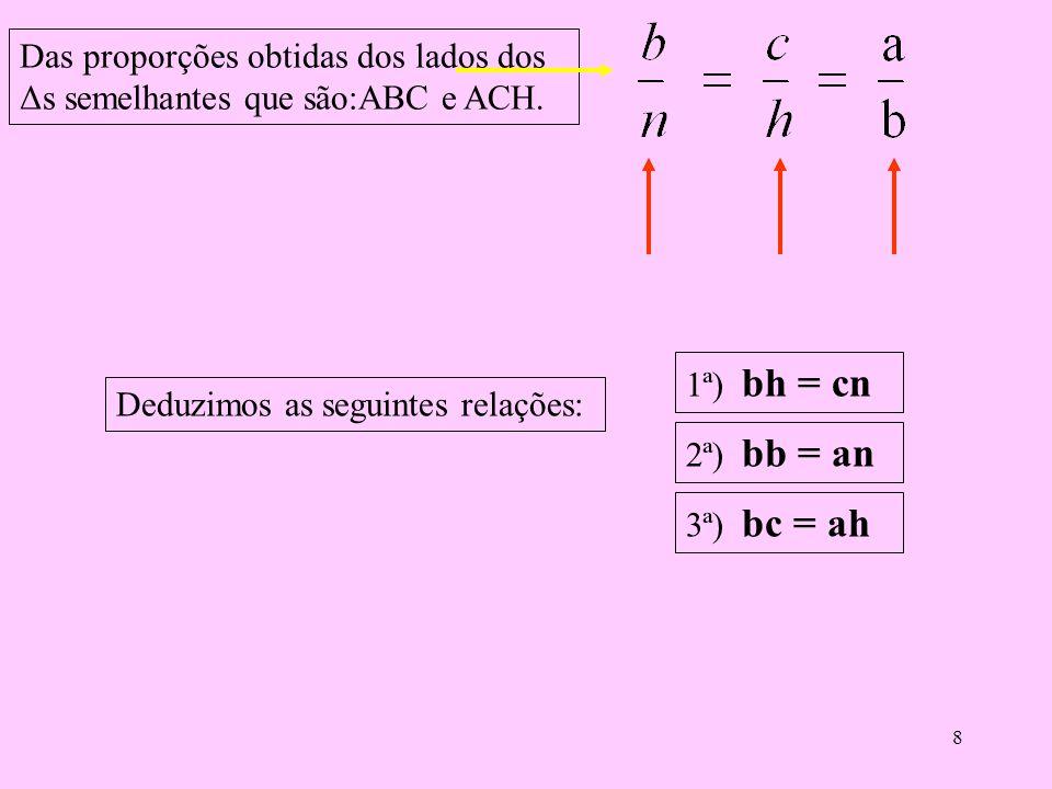 7 Comparando o triângulo ABC com o triângulo ACH. Como são semelhantes, seus lados são proporcionais, logo temos as seguintes relações: Lados do Δ ABC