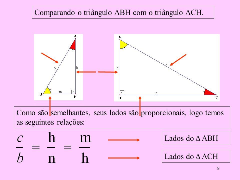 8 Das proporções obtidas dos lados dos Δs semelhantes que são:ABC e ACH. Deduzimos as seguintes relações: 1ª) bh = cn 2ª) bb = an 3ª) bc = ah