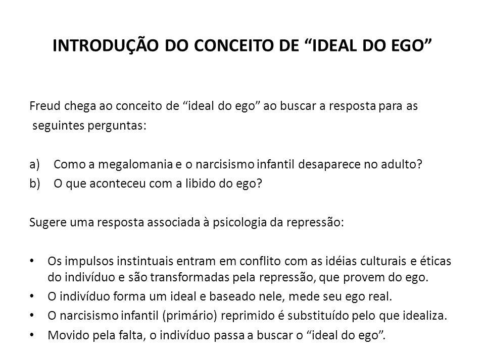 """INTRODUÇÃO DO CONCEITO DE """"IDEAL DO EGO"""" Freud chega ao conceito de """"ideal do ego"""" ao buscar a resposta para as seguintes perguntas: a)Como a megaloma"""