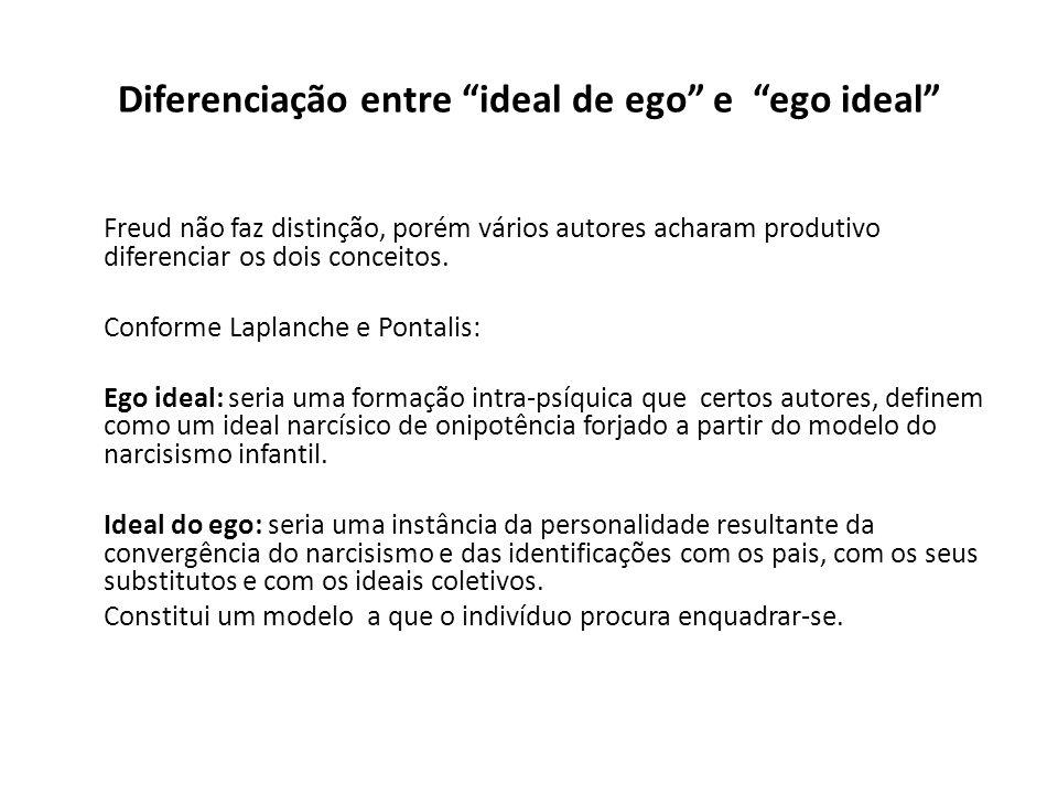 """Diferenciação entre """"ideal de ego"""" e """"ego ideal"""" Freud não faz distinção, porém vários autores acharam produtivo diferenciar os dois conceitos. Confor"""