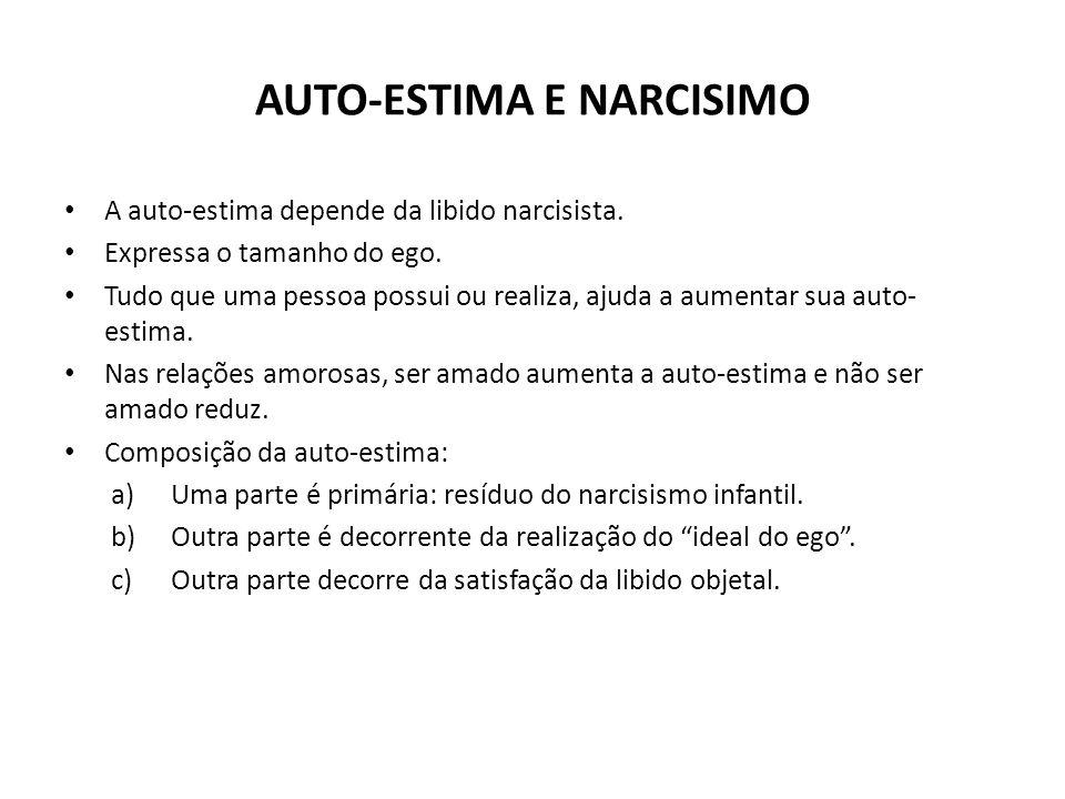 AUTO-ESTIMA E NARCISIMO • A auto-estima depende da libido narcisista. • Expressa o tamanho do ego. • Tudo que uma pessoa possui ou realiza, ajuda a au