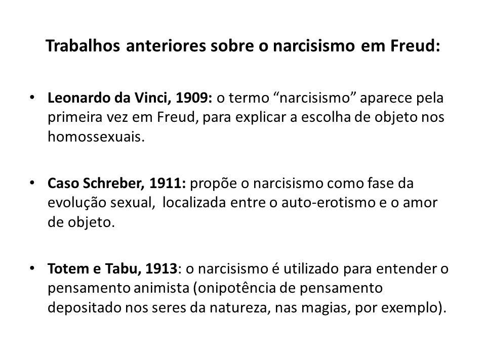"""Trabalhos anteriores sobre o narcisismo em Freud: • Leonardo da Vinci, 1909: o termo """"narcisismo"""" aparece pela primeira vez em Freud, para explicar a"""