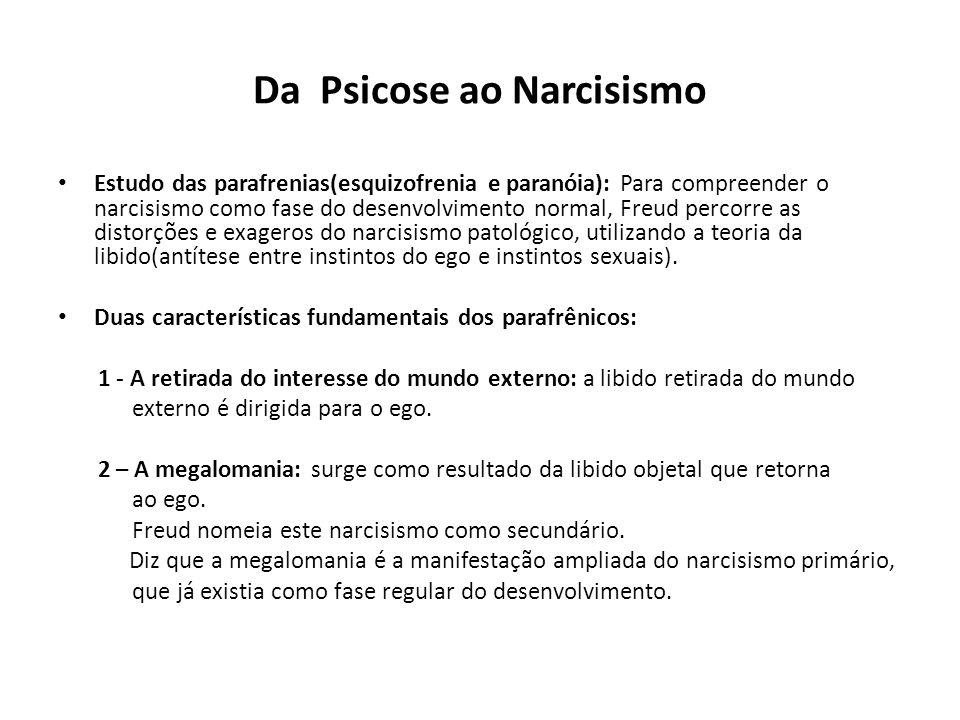 Da Psicose ao Narcisismo • Estudo das parafrenias(esquizofrenia e paranóia): Para compreender o narcisismo como fase do desenvolvimento normal, Freud