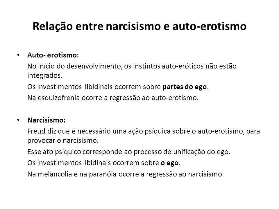 Relação entre narcisismo e auto-erotismo • Auto- erotismo: No início do desenvolvimento, os instintos auto-eróticos não estão integrados. Os investime