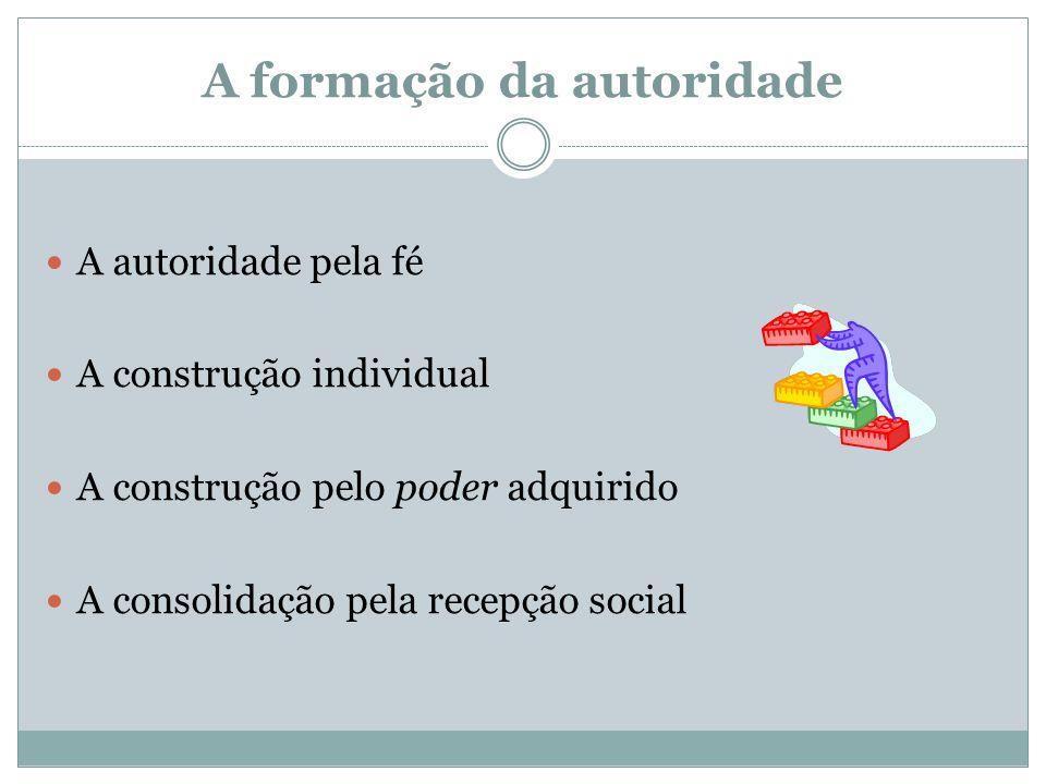 A formação da autoridade  A autoridade pela fé  A construção individual  A construção pelo poder adquirido  A consolidação pela recepção social
