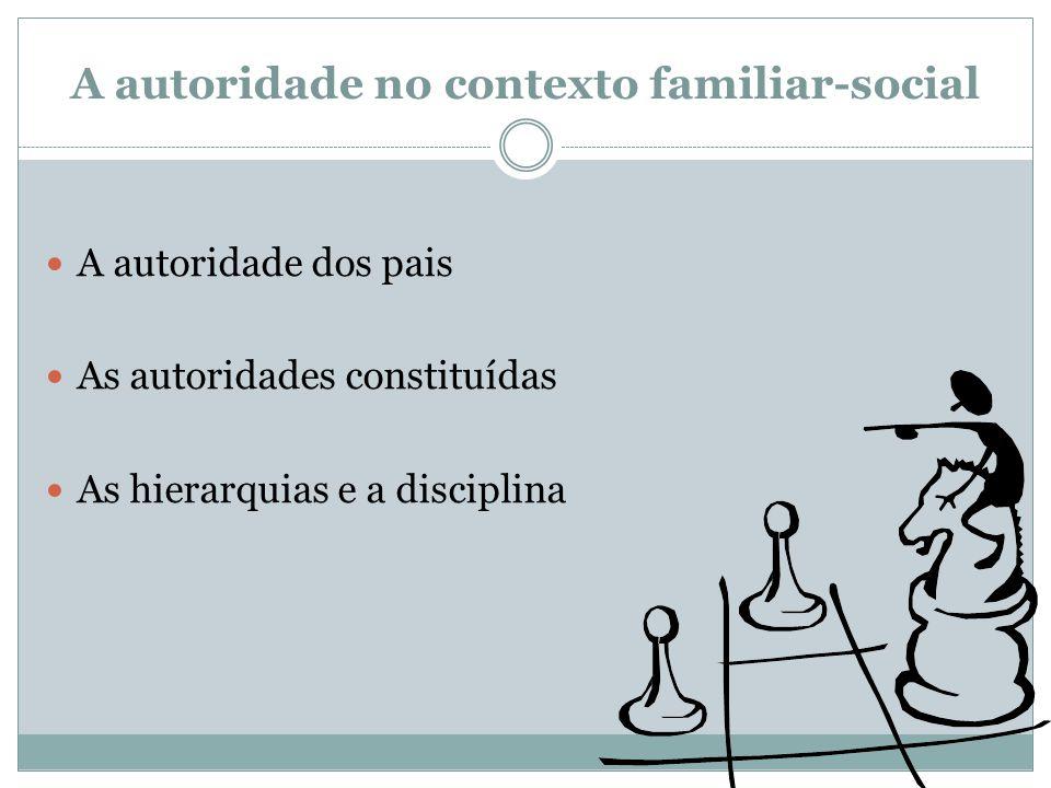 A autoridade no contexto familiar-social  A autoridade dos pais  As autoridades constituídas  As hierarquias e a disciplina