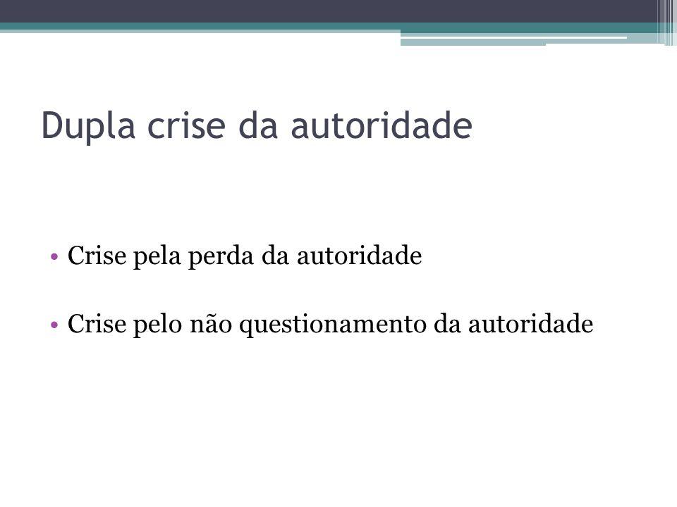 Dupla crise da autoridade •Crise pela perda da autoridade •Crise pelo não questionamento da autoridade
