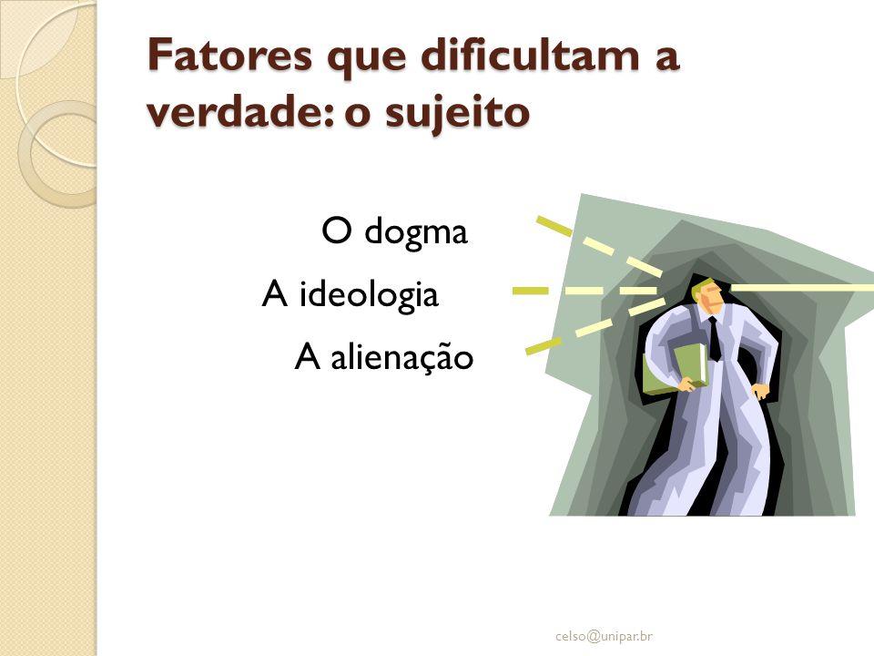 Fatores que dificultam a verdade: o sujeito O dogma A ideologia A alienação celso@unipar.br