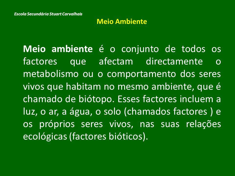 Meio ambiente é o conjunto de todos os factores que afectam directamente o metabolismo ou o comportamento dos seres vivos que habitam no mesmo ambient