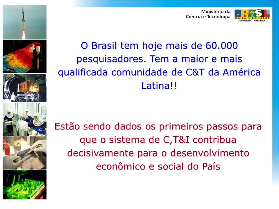 O Brasil tem hoje mais de 60.000 pesquisadores. Tem a maior e mais qualificada comunidade de C&T da América Latina!! Estão sendo dados os primeiros pa