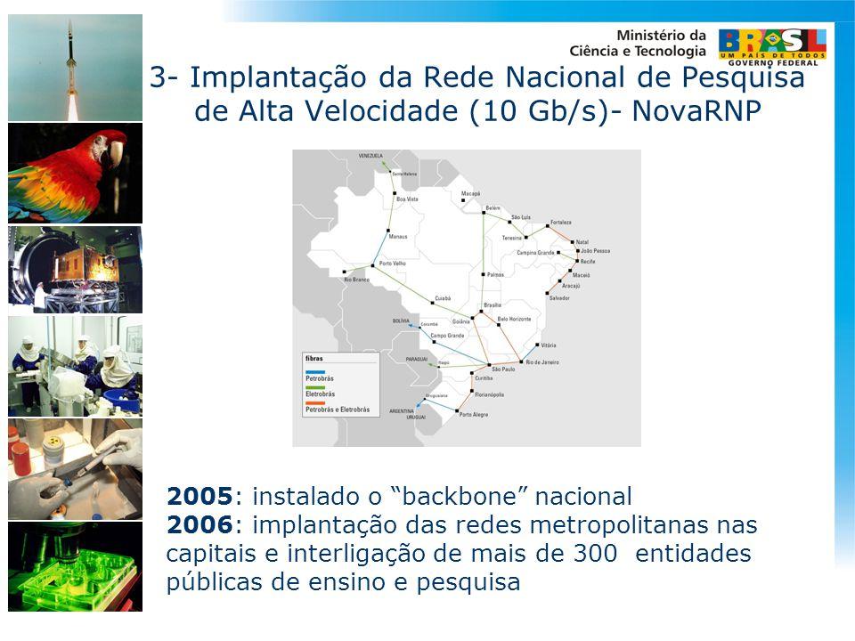 """2005: instalado o """"backbone"""" nacional 2006: implantação das redes metropolitanas nas capitais e interligação de mais de 300 entidades públicas de ensi"""