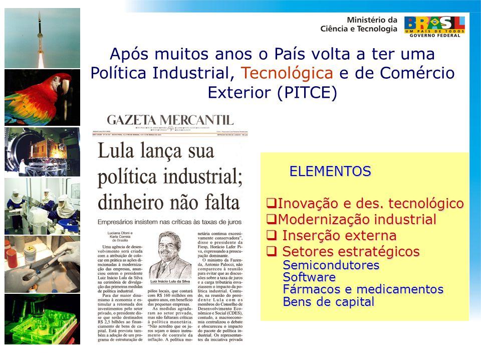 ELEMENTOS ELEMENTOS  Inovação e des. tecnológico  Modernização industrial  Inserção externa  Setores estratégicos Semicondutores Semicondutores So
