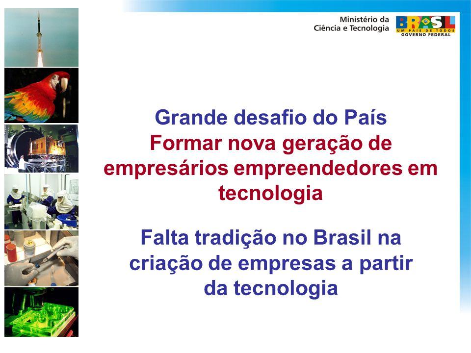 Grande desafio do País Formar nova geração de empresários empreendedores em tecnologia Falta tradição no Brasil na criação de empresas a partir da tec