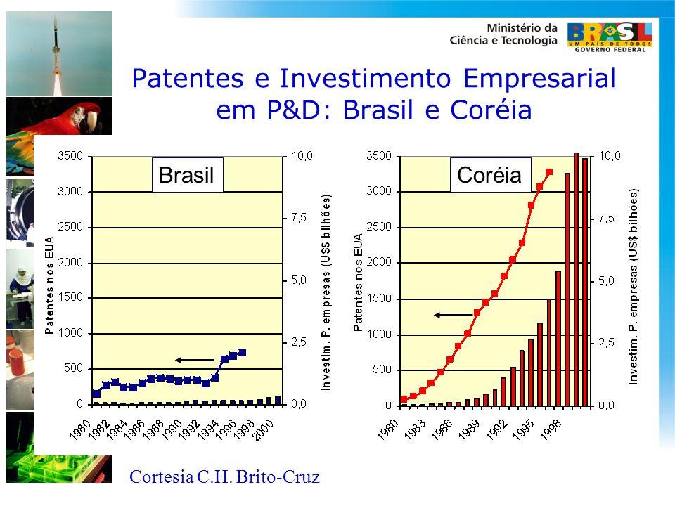 Patentes e Investimento Empresarial em P&D: Brasil e Coréia BrasilCoréia Cortesia C.H. Brito-Cruz