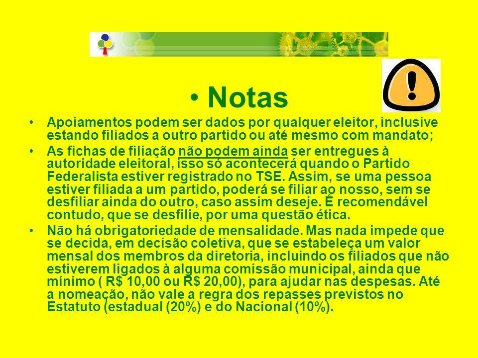 •N•Notas •A•Apoiamentos podem ser dados por qualquer eleitor, inclusive estando filiados a outro partido ou até mesmo com mandato; •A•As fichas de fil