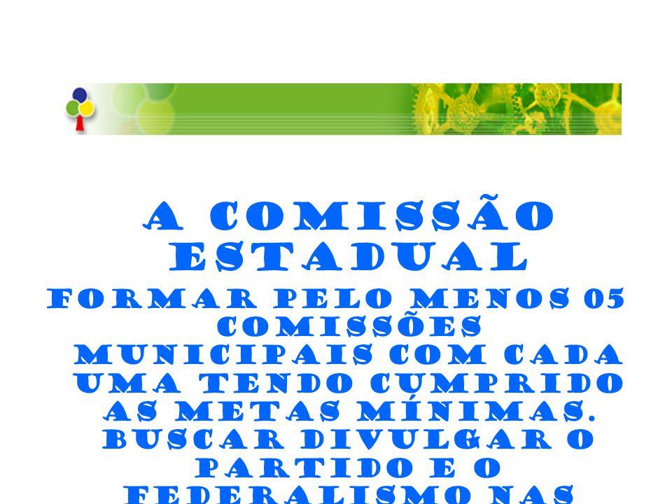 A Comissão Estadual Formar pelo menos 05 comissões municipais com cada uma tendo cumprido as metas mínimas. Buscar divulgar o Partido e o Federalismo