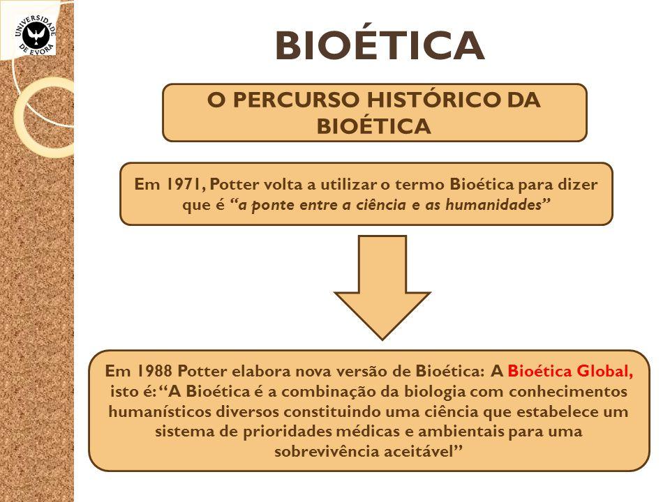 """BIOÉTICA O PERCURSO HISTÓRICO DA BIOÉTICA Em 1971, Potter volta a utilizar o termo Bioética para dizer que é """"a ponte entre a ciência e as humanidades"""