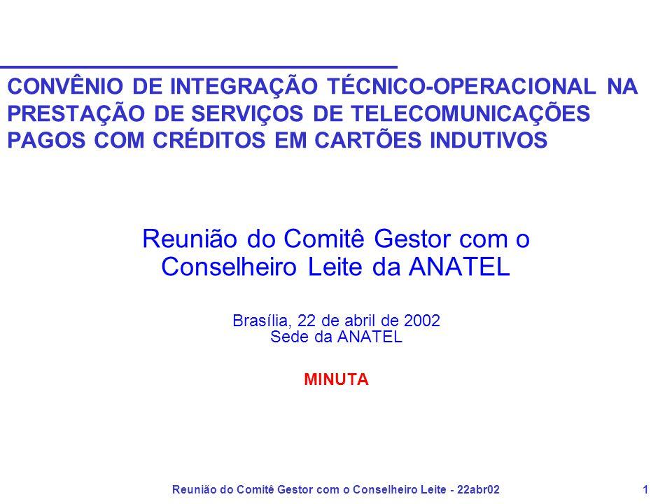 Reunião do Comitê Gestor com o Conselheiro Leite - 22abr021 CONVÊNIO DE INTEGRAÇÃO TÉCNICO-OPERACIONAL NA PRESTAÇÃO DE SERVIÇOS DE TELECOMUNICAÇÕES PAGOS COM CRÉDITOS EM CARTÕES INDUTIVOS Reunião do Comitê Gestor com o Conselheiro Leite da ANATEL Brasília, 22 de abril de 2002 Sede da ANATEL MINUTA
