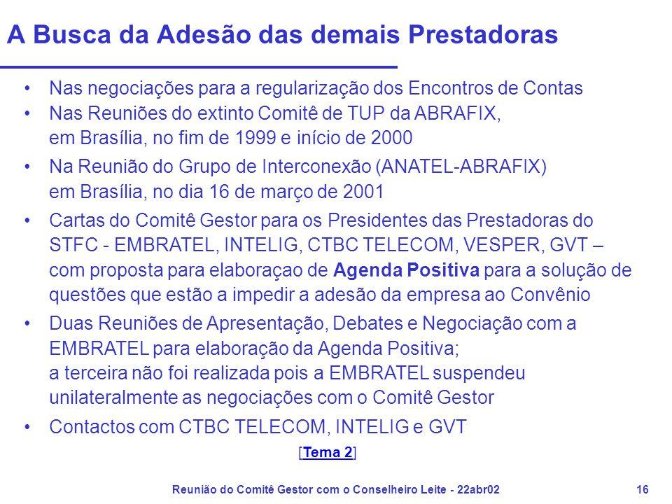 Reunião do Comitê Gestor com o Conselheiro Leite - 22abr0216 A Busca da Adesão das demais Prestadoras •Nas negociações para a regularização dos Encontros de Contas •Nas Reuniões do extinto Comitê de TUP da ABRAFIX, em Brasília, no fim de 1999 e início de 2000 •Na Reunião do Grupo de Interconexão (ANATEL-ABRAFIX) em Brasília, no dia 16 de março de 2001 •Cartas do Comitê Gestor para os Presidentes das Prestadoras do STFC - EMBRATEL, INTELIG, CTBC TELECOM, VESPER, GVT – com proposta para elaboraçao de Agenda Positiva para a solução de questões que estão a impedir a adesão da empresa ao Convênio •Duas Reuniões de Apresentação, Debates e Negociação com a EMBRATEL para elaboração da Agenda Positiva; a terceira não foi realizada pois a EMBRATEL suspendeu unilateralmente as negociações com o Comitê Gestor •Contactos com CTBC TELECOM, INTELIG e GVT [Tema 2]Tema 2
