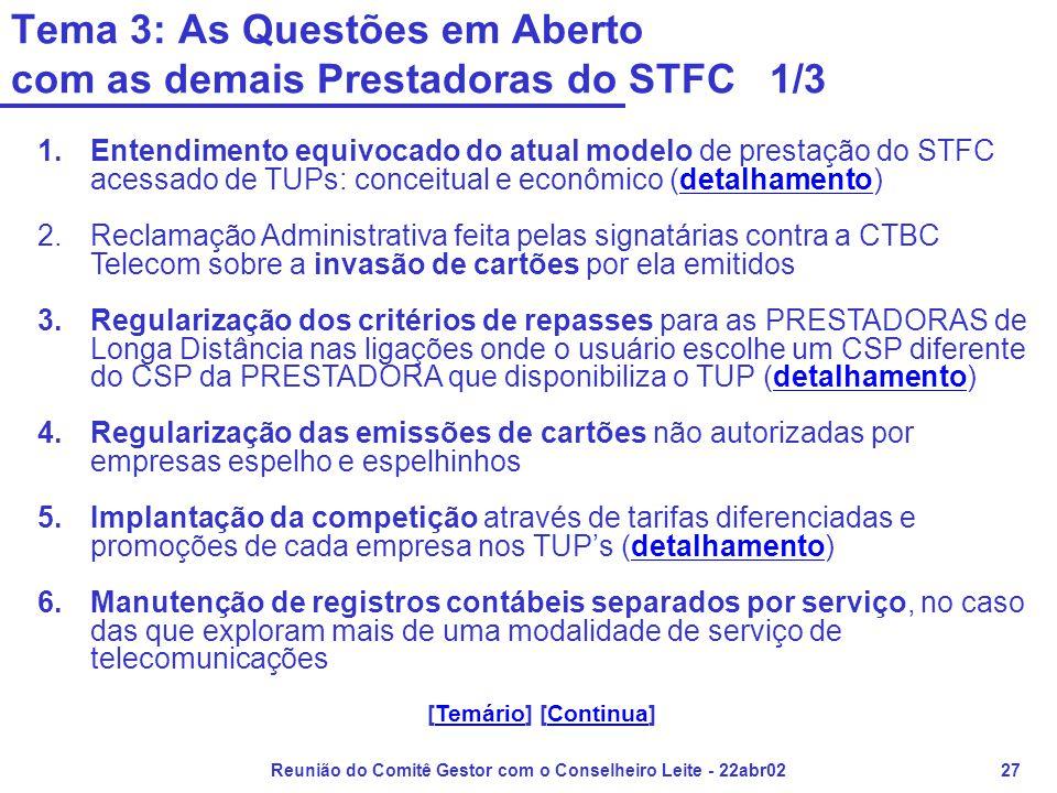 Reunião do Comitê Gestor com o Conselheiro Leite - 22abr0227 Tema 3: As Questões em Aberto com as demais Prestadoras do STFC 1/3 1.Entendimento equivocado do atual modelo de prestação do STFC acessado de TUPs: conceitual e econômico (detalhamento)detalhamento 2.Reclamação Administrativa feita pelas signatárias contra a CTBC Telecom sobre a invasão de cartões por ela emitidos 3.Regularização dos critérios de repasses para as PRESTADORAS de Longa Distância nas ligações onde o usuário escolhe um CSP diferente do CSP da PRESTADORA que disponibiliza o TUP (detalhamento)detalhamento 4.Regularização das emissões de cartões não autorizadas por empresas espelho e espelhinhos 5.Implantação da competição através de tarifas diferenciadas e promoções de cada empresa nos TUP's (detalhamento)detalhamento 6.Manutenção de registros contábeis separados por serviço, no caso das que exploram mais de uma modalidade de serviço de telecomunicações [Temário] [Continua]TemárioContinua