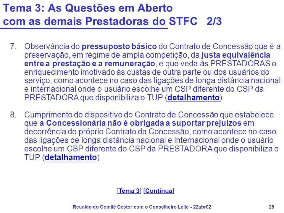 Reunião do Comitê Gestor com o Conselheiro Leite - 22abr0228 Tema 3: As Questões em Aberto com as demais Prestadoras do STFC 2/3 7.Observância do pres
