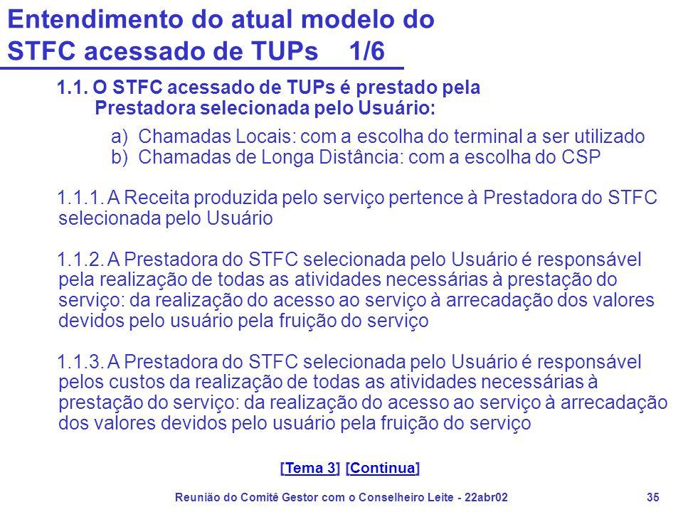 Reunião do Comitê Gestor com o Conselheiro Leite - 22abr0235 Entendimento do atual modelo do STFC acessado de TUPs 1/6 1.1. O STFC acessado de TUPs é