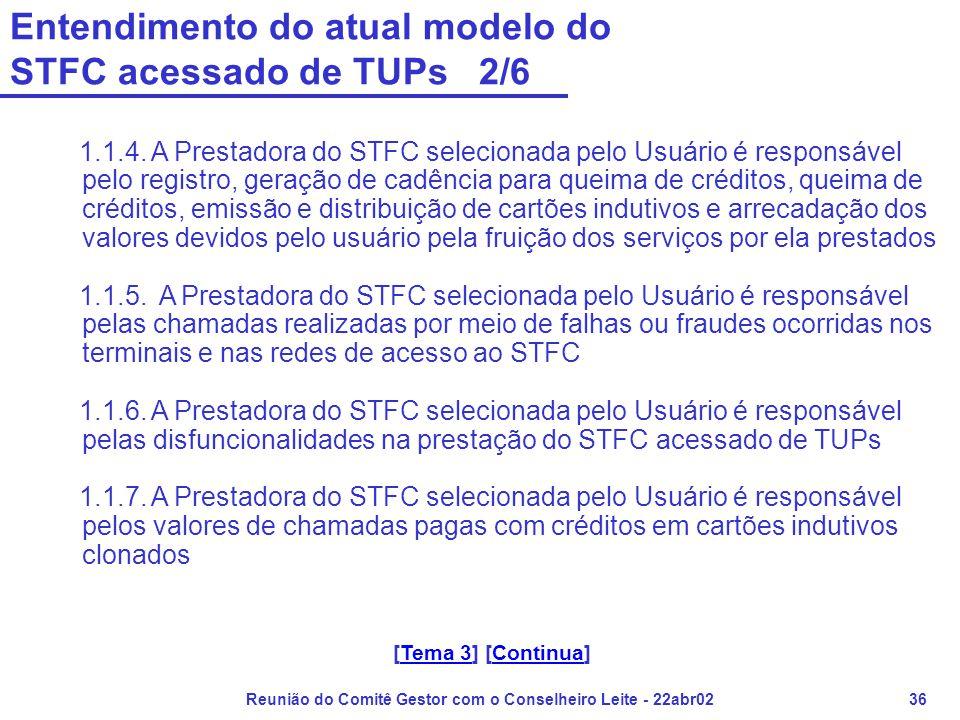 Reunião do Comitê Gestor com o Conselheiro Leite - 22abr0236 Entendimento do atual modelo do STFC acessado de TUPs 2/6 1.1.4. A Prestadora do STFC sel