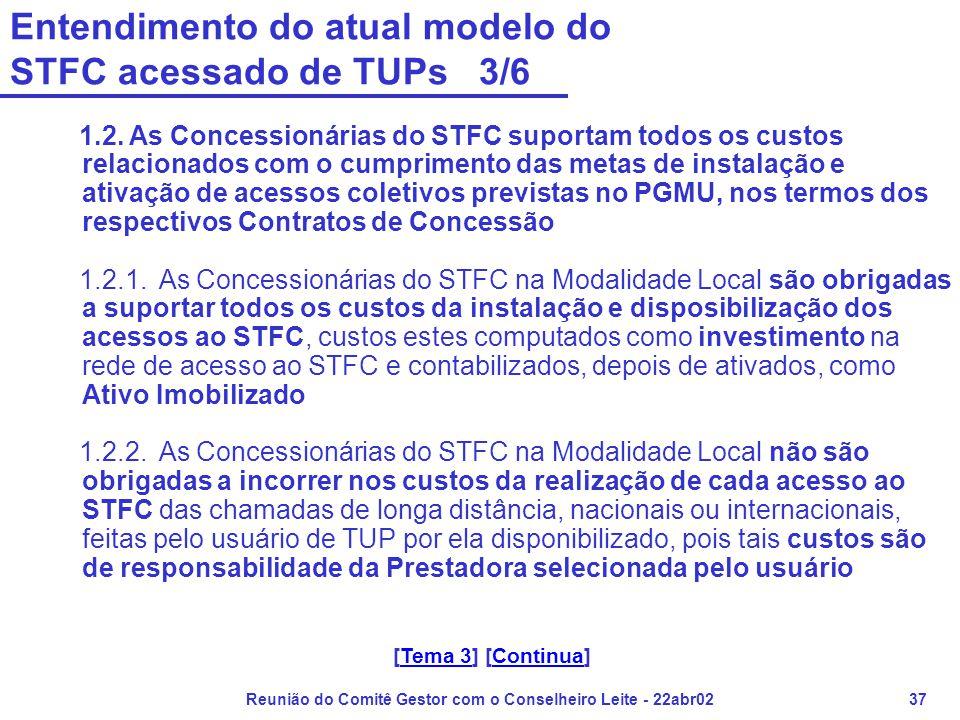 Reunião do Comitê Gestor com o Conselheiro Leite - 22abr0237 Entendimento do atual modelo do STFC acessado de TUPs 3/6 1.2. As Concessionárias do STFC