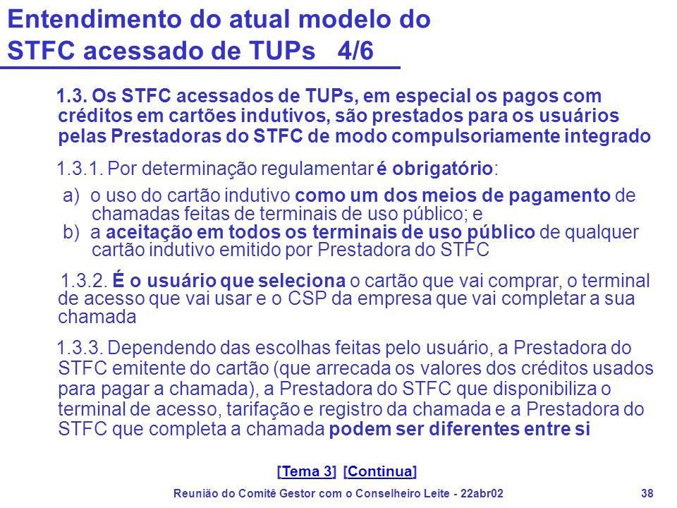 Reunião do Comitê Gestor com o Conselheiro Leite - 22abr0238 Entendimento do atual modelo do STFC acessado de TUPs 4/6 1.3. Os STFC acessados de TUPs,
