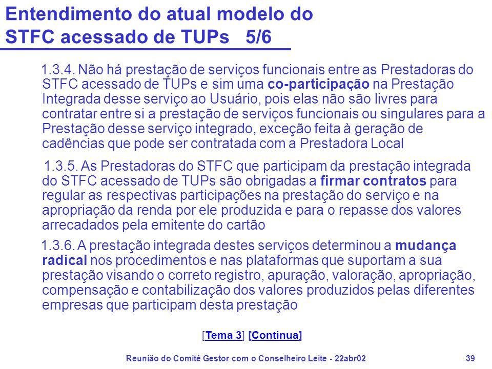 Reunião do Comitê Gestor com o Conselheiro Leite - 22abr0239 Entendimento do atual modelo do STFC acessado de TUPs 5/6 1.3.4. Não há prestação de serv