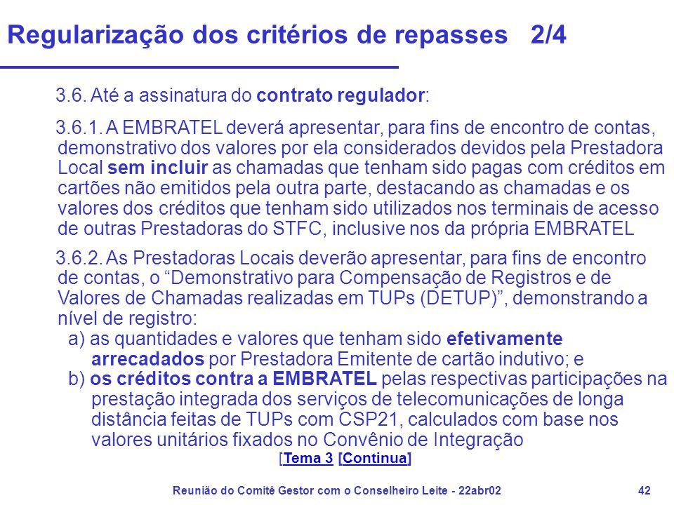 Reunião do Comitê Gestor com o Conselheiro Leite - 22abr0242 Regularização dos critérios de repasses 2/4 3.6. Até a assinatura do contrato regulador: