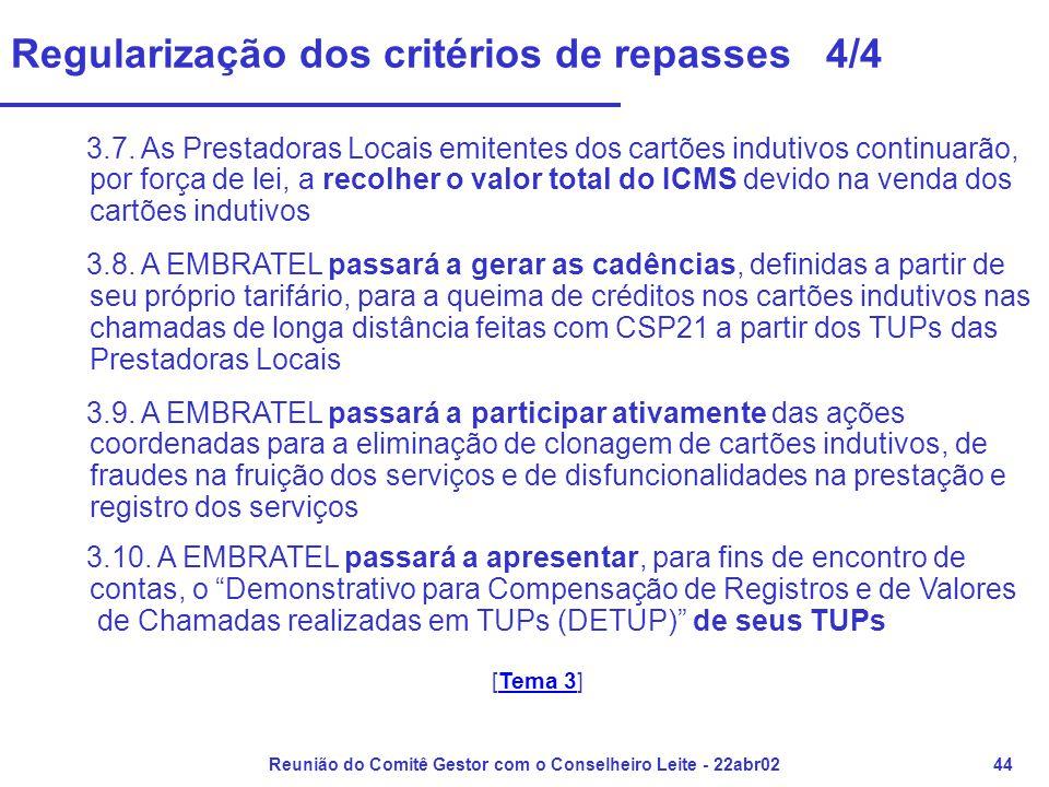 Reunião do Comitê Gestor com o Conselheiro Leite - 22abr0244 Regularização dos critérios de repasses 4/4 3.7. As Prestadoras Locais emitentes dos cart