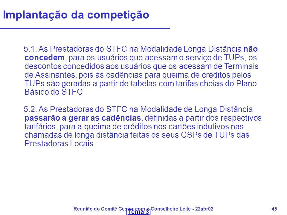 Reunião do Comitê Gestor com o Conselheiro Leite - 22abr0245 Implantação da competição 5.1. As Prestadoras do STFC na Modalidade Longa Distância não c
