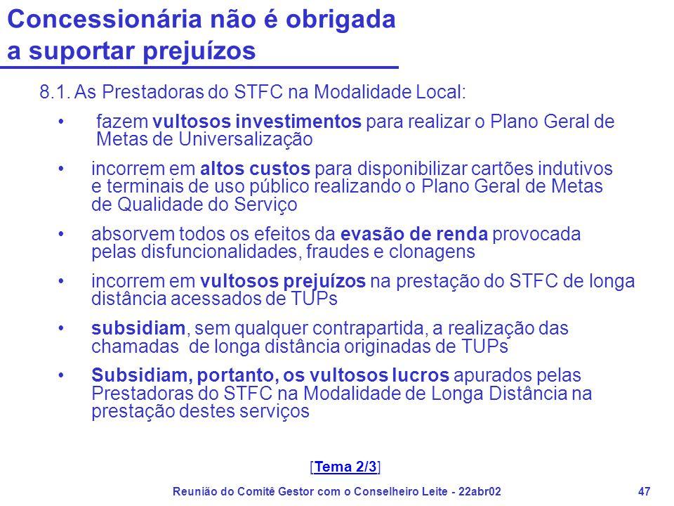 Reunião do Comitê Gestor com o Conselheiro Leite - 22abr0247 Concessionária não é obrigada a suportar prejuízos 8.1. As Prestadoras do STFC na Modalid