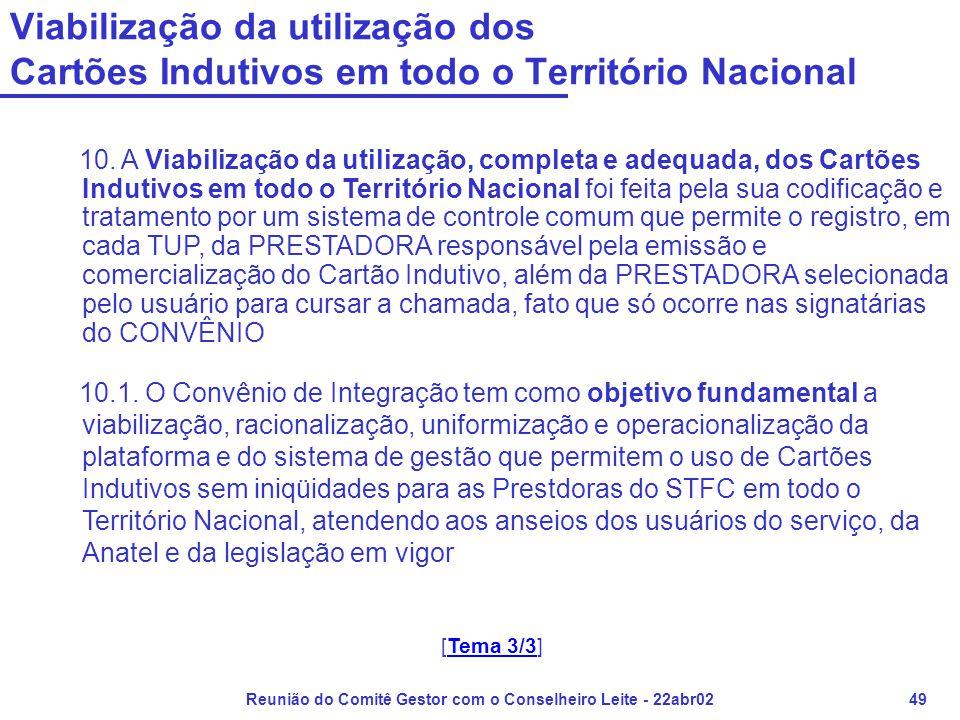 Reunião do Comitê Gestor com o Conselheiro Leite - 22abr0249 10. A Viabilização da utilização, completa e adequada, dos Cartões Indutivos em todo o Te