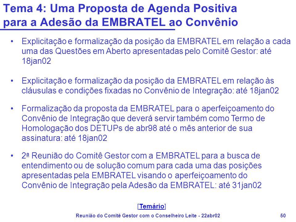 Reunião do Comitê Gestor com o Conselheiro Leite - 22abr0250 Tema 4: Uma Proposta de Agenda Positiva para a Adesão da EMBRATEL ao Convênio •Explicitaç